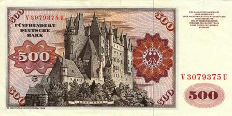 500 DM Schein Rückseite Burg Eltz