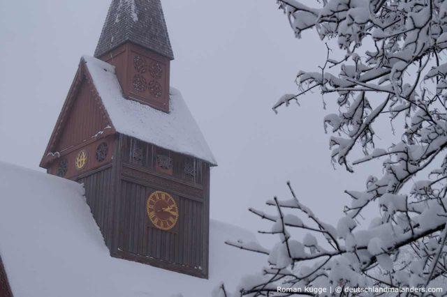 Stabkirche Hahnenklee Glockenturm Schnee